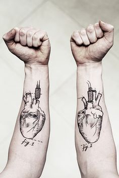 Anatomy Hearts http://tattoos-ideas.net/anatomy-hearts/ Arm Tattoos, Black Ink idea: heart with stick of dynamite placed in one of the valves...