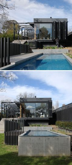 This modern extension sits at the rear of the house, drew on inspiration from modernist houses from Scandinavia and has an exterior of Accoya timber that's been stained black. #ModernExtension #SwimmingPool #Shutters