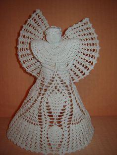 White crochet angel Crystal tall 26 cm / 97 by malutaHandmade, zł90.00