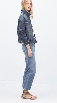 10 Celeb-Inspired Ways to Rock a Denim Jacket Zara Denim Jacket, Denim Jeans, Jacket Jeans, Summer Jacket, Denim Outfit, Denim Fashion, Fashion Fall, Zara Women, Vintage Denim