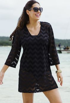 3c19830a21 Swimsuit Cover Ups. Sandshell Bianca Tunic. See more. swimsuitsforall Black  Chevron Tunic Swimsuits For All, Plus Size Swimsuits, Cute Swimsuits, Modest