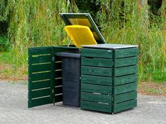 Mülltonnenbox Holz - Holzweise Garbage Can Shed, Garbage Containers, Outdoor Furniture, Outdoor Decor, Outdoor Storage, Decoration, Canning, Gardening, Washing Bins