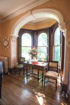 Arch Moldings With Corbels Burritt Mansion Weedsport, NY home for sale listing by Michael DeRosa Select Sotheby's International Realty