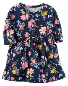 Baby Girl Floral Jersey Dress from Carters.com. Shop clothing & accessories from a trusted name in kids, toddlers, and baby clothes. https://presentbaby.com