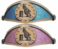 Barrel racerbronc nose band halter in teal or pink from www.spoilmyhorse.com