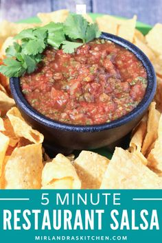 Best salsa of your life in 5 minutes? Yep! That's a thing! This easy Mexican restaurant salsa is just six ingredients. Blend and enjoy with chips, on eggs, with a spoon - we won't judge! This is a simple, cost effective appetizer for your summer BBQ or party. #appetizer #mexicanfood #condiment #salsa #fromscratch Side Dishes For Bbq, Healthy Side Dishes, Side Dish Recipes, Mexican Restaurant Salsa, Healthy Sesame Chicken, Blender Salsa, Mild Salsa, Mexican Food Recipes, Ethnic Recipes