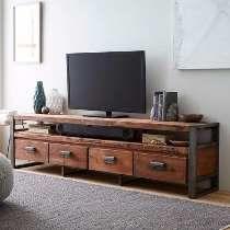Mesa Para Tv O Lcd De Madera Y Hierro Estilo Industrial
