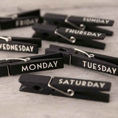 fast weekly calandar. just label clothes pin, hang on string and clip list of things to do that day on coordinating day clip!