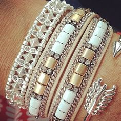 Gorgeous silver stack of Stella & Dot bracelets!