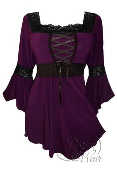 Lovely Victorian and Gothic inspired Renaissance corset top in classic plum by, Dare to Wear