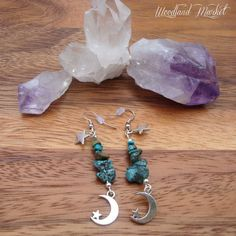 Turquoise Dreams: GENUINE Turquoise Boho Style Earrings With Delicate Silver Star & Moon Charms