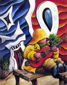 Playin me music bye Newfoundland And Labrador, Canadian Art, Coastal Art, International Artist, My Heritage, Whimsical Art, Beautiful Islands, Canada, Amazing Art