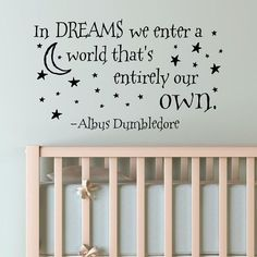 In Dreams We Enter A World That's Entirely Our Own Wall Decal Vinyl Sticker Quote Harry Potter Albus Dumbledore #HarryPotter