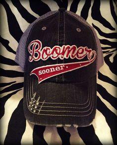 Oklahoma Boomer Sooner Distressed Mesh by BlingyBlondeDesigns on Etsy & Facebook, $31.50