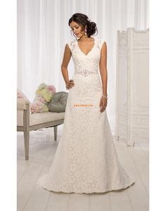 Kyrka A-linje Naturlig Bröllopsklänningar 2014