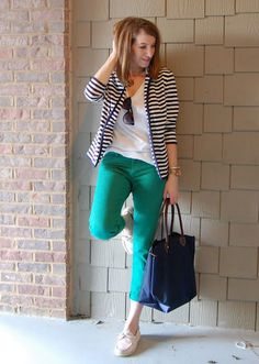 green jeans with black and white striped cardigan