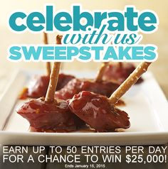 Make any gathering easy with crowd-pleasing appetizers! PS Don't miss our Celebrate With Us $25,000 Sweepstakes. Enter today and be entered to win our $100 daily prize.