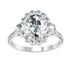 Floral Three Stone Halo Engagement Ring - click to enlarge