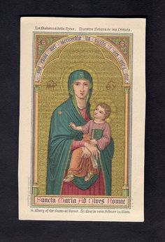Antique Goldprint  Holy Card ** S. Mary of the Snow at Rome  ** St. Augustin