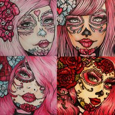ANY of my Square prints in HUGE 24 by 24   Art Rockabilly Pin Up girl Dia De Los Muertos  Lowbrow Tattoo. $129.00, via Etsy.