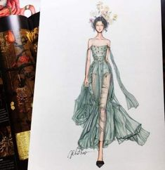 Drawing Fashion Eris Tran: Watercolor Illustration of Christian Dior, Haute Couture, Spring/Summer 2017 - Fashion Model Sketch, Fashion Design Sketchbook, Fashion Design Drawings, Fashion Sketches, Dress Illustration, Fashion Illustration Dresses, Fashion Illustrations, Watercolor Illustration, Watercolor Drawing