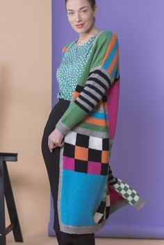 A long cardigan with a look and a colour scheme inspired by graffiti. The strong colours are complemented by the bold black. From Novita 7 Veljestä. Knitting Squares, Knitting Patterns, Knitting Ideas, Black Highlights, Knit Fashion, Pattern Blocks, Long Cardigan, Cardigans For Women, Plaid Scarf