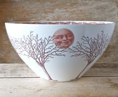 Large Tree Moon and Moth Serving Bowl, Large  Serving  Dish, Mixing Bowl, Foodie Gift, Ready to Ship