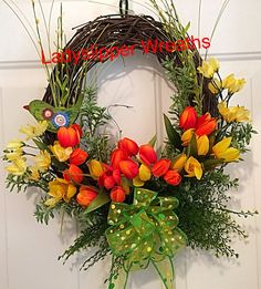 Spring Wreath, Easter Wreath, Welcome Wreath,Tulip Wreath, Floral Wreath, Door Wreath, Orange Wreath, Home Decor, Geenery Wreath by LadySlipperWreaths on Etsy
