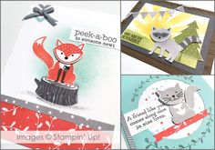 Foxy Friends - Samples from the Show and Tell at Onstage 2016. This cute set makes a variety of animals and with a matching punch putting these guys together is easy peasy! 2016-2017 Stampin' Up! Annual Catalog Sneak Peek. #OnStage2016 #foxyfriends #stampinup