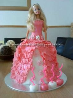 Homemade Barbie Doll Birthday Cake Design: This Barbie Doll Birthday Cake Design is my first attempt at a Barbie cake and I made this one as a favour to a friend for her 4 year old daughter who's