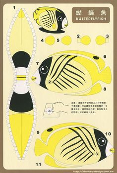 Piñatas~Butterfly Fish - Cut Out Postcard Paper Folding Crafts, 3d Paper Crafts, Paper Toys, Diy Paper, Fish Cut Outs, 3d Paper Art, Jar Art, Paper Animals, Paper Birds
