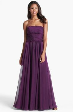 ML Monique Lhuillier Bridesmaids Strapless Chiffon Gown (Nordstrom Exclusive) available at Bridesmaid dress idea for kitty Monique Lhuillier Bridesmaids, Ml Monique Lhuillier, Grad Dresses, Bridesmaid Dresses, Wedding Dresses, Gold Gown, Chiffon Gown, Wedding Suits, Nordstrom Dresses