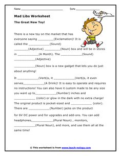 Printables Parts Of Speech Worksheets For High School to be a well and middle school on pinterest mad libs parts of speech worksheets