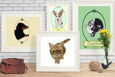 Custom illustrated pet portrait DIGITAL by campkoodle on Etsy Pet Portraits, Digital Art, My Etsy Shop, Batman, Superhero, Pets, Illustration, Handmade Gifts, Artwork