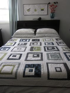 """This is my new quilt I made for """"Naked bed challenge"""".   Finished size: 72"""" x 72"""" Pattern used: There's a Square in There by Kate Conklin Designs Fabric used: mostly Denyse Schmidt's Greenfield Hill collection  sotakhandmade.blogspot.com/"""