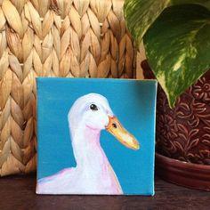 Duck painting, 4x4 canvas art, blue farmhouse decor, farm animal nursery decor, gender neutral baby