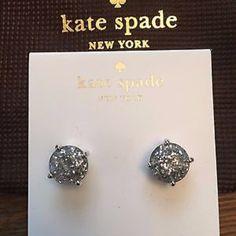 Kate spade Silver glitter stud earrings NTW Kate spade silver glitter stud earrings ! Beautiful silver sparkle kate spade Jewelry Earrings