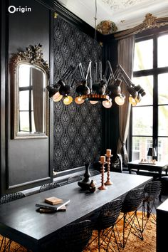 silk printed flocked non-woven wall covering ornament black. Collection Grandeur, Origin - luxury wallcoverings.