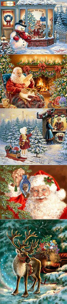 Новогодние и рождественские сюжеты. Dona Gelsinger. / Декупаж / Картинки для декупажа