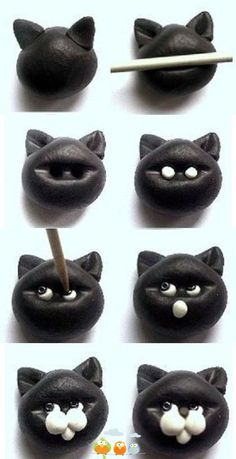 Polymer Clay Kitty Cat Bead Tutorial Fimo, Cernit et accessoires : www.creactivi… Polymer Clay Kitty Cat Bead Tutorial Fimo, Cernit et accessoires : www. Polymer Clay Animals, Fimo Clay, Polymer Clay Projects, Polymer Clay Creations, Polymer Clay Halloween, Fondant Figures, Clay Figures, Decors Pate A Sucre, Fondant Animals