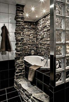 Black white and grey bathroom.