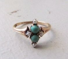 Antique Victorian Ring / 14k Gold Ring With Turquoise and Pearls c.1890. $326.00, via Etsy.