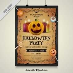 Halloween party poster with pumpkin and lollipops Premium Vector