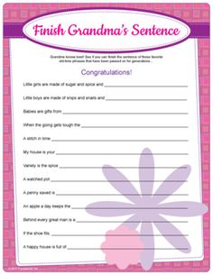 Finish Grandma's Sentence. Complete the phrases often heard by experienced moms. Baby shower game.