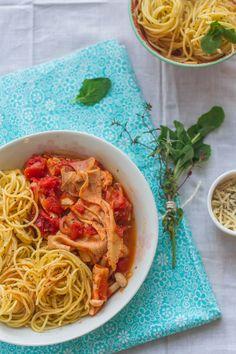 Beef Tripe Sauce Chasseur Spaghetti