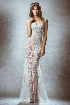 253 best illusion wedding dresses images on pinterest wedding sexy illusion lace wedding dress by zuhair murad fall 2015 junglespirit Image collections