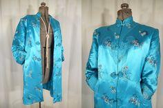 Vintage 1940s Coat -Long Teal Blue Silk XL Chinese Coat, Plus Size 40s Asian Coat by RockabillyRavenVtg on Etsy