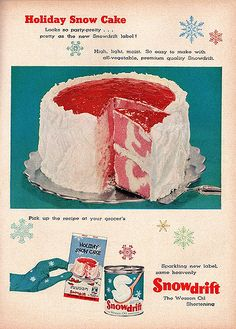A snow cake like the snow from the wood chipper scene in Fargo. Sunset The Magazine of Western Living December 1956 Retro Recipes, Old Recipes, Vintage Recipes, Vintage Advertisements, Vintage Ads, Vintage Food, Retro Food, Retro Ads, Snow Cake