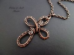 Copper Woven wire cross pendant necklace