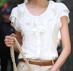 New Summer Women Fashion Short Sleeve Ruffles Chiffon Solid White Tops Blusas Casual Summer Blouses Shirt